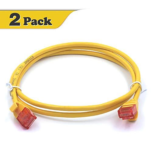 VCE 2 Pack Cat 6A Ultra Slim Ethernet Netwerk UTP Kabel 0.9m Compatibel met Cat6 Cat5e Cat5 voor Switch, Router, PC, PS4 en meer