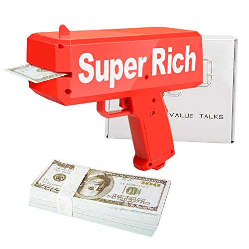 ValueTalks Geld Pistole Money Gun Geldpistole Spielzeug Cash Gun Spritzpistole für Kinder Party