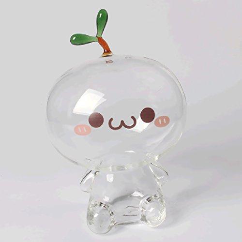 SM SunniMix Bonita Caja de Ahorro de Dinero de Cristal Transparente, Regalo de Hucha de Muñeca de Hierba Larga