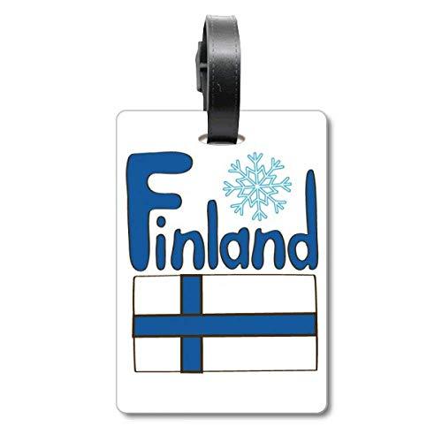 Etiqueta de identificación de la Bandera de Finlandia para Maleta de Crucero, Color Azul