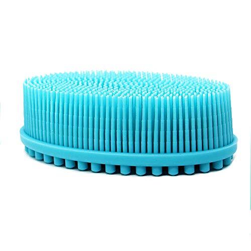 Luffa-Bürste aus 100 % Silikon, sanftes Peeling, 2 in 1 Gesichts- und Körperschrubber, Massage, blau