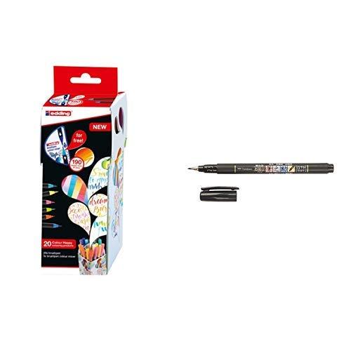 edding Set mit 21 Teilen (20 Pinselstifte edding 1340 mit Farbmixer) - Colour Happy Set S20+1  & Tombow WS-BS Brush Pen Fudenosuke, weiche Spitze, schreibfarbe schwarz