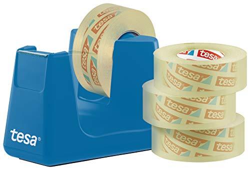 tesa Easy Cut Smart + 4 Rollen tesafilm transparent 33m:19mm - Robuster Abroller mit Anti-Rutsch Funktion in cyan blau und transparentem Klebefilm