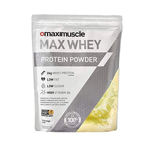 Maximuscle Max Whey Protein Powder Vanilla Flavour, 480 g