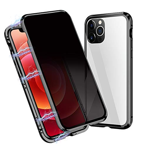 OFOCASE Anti-Spia Magnetica Custodia Compatibile con iPhone 12 PRO Max, Custodia Magnetica Compatibile con iPhone 12 PRO Max 5G,360 Gradi Vetro Temperato Bumper Metallo Case Cover 6.7''(Nero)