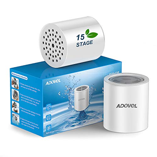 ADOVEL Universal Shower Filter Replacement Cartridge, 15 stage, High Output, With Effective KDF, Vitamin C, Removing Chlorine, Heavy Metals, Sulfur Odor, Pack of 2