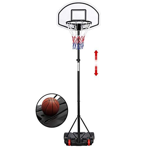 Yaheetech Canestro Basket Esterno Portatile Altezza Regolabile da 196 cm a 251 cm da Camera Interno Gioco Pallacanestro Giocattolo Sportivo Nero