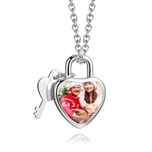 Collar con letras personalizadas Collar con imagen personalizada con candado Collar con llave Collar de plata esterlina(Plata 22)