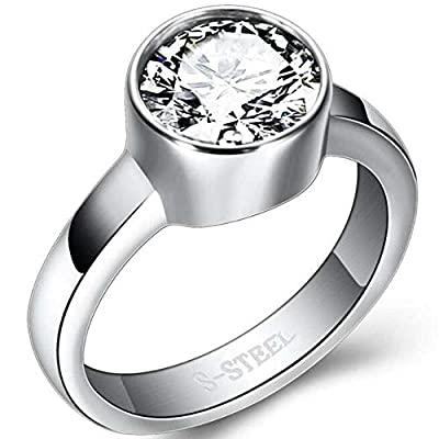 Jude Jewelers Stainless Steel Chunky Round Cubic Zircon Solitaire Wedding Engagement Proposal Ring (Silver Clear, 6)