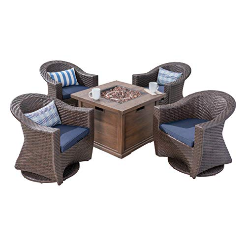 Christopher Knight Home Crystal Patio Fire Pit Set, 4-Seater with Wicker Swivel Chairs, Multi-Brown, Navy Blue, Brown with Wood Design
