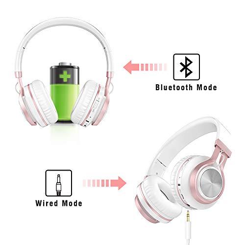 Baseman Wireless Bluetooth Headphones with Mic, On Ear Lightweight Foldable Wired Headphones, Hi-Fi Stereo Earphones Deep Bass Over Ear Headphone for Music Computer Laptop TV PC Kids(Pink White) 7