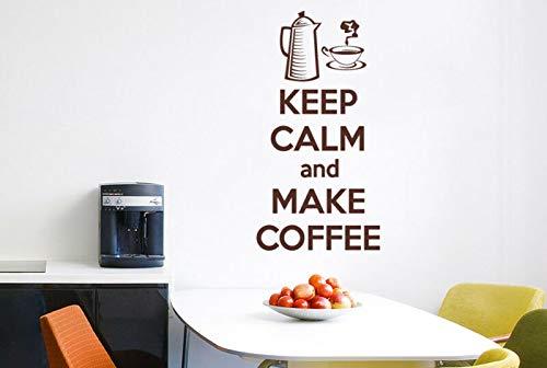 Blijf kalm en maak koffie Vinyl muurdecoratie sjablonen muurschilderingen