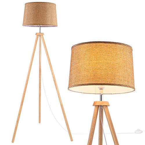 WUDSEE Lámpara de pie con trípode de madera moderna para mediados de siglo sala de estar dormitorio estudio con tela de lino pantalla dorada