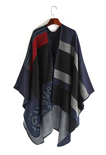 Hycurey Women Winter Knitted Faux Cashmere Poncho Capes Leopard Open Front Shawl Cardigans Sweater Coat Navy Blue