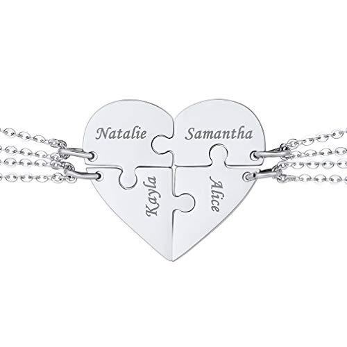 Corazón Roto de Amistad Amor para Siempre Mejores Amigas Collar de Cuatro Partes Personalizado con Nombres Memoriales Acero Inoxidable Best Friend