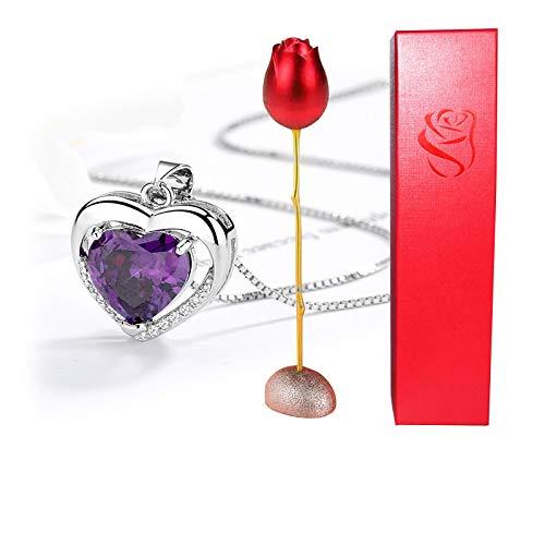 HJCC Collar Mujer Collar Colgante con Caja De Anillo Rosa, Regalo De San Valentín para Ella, Cadena 45Cm Longitud,F