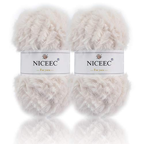 NICEEC 2 Skeins Super Soft Fur Yarn Chunky Fluffy Faux Fur Yarn Eyelash Yarn for Crochet Knit -Total Length 2×32m(2×35yds,50g×2)-Cream White