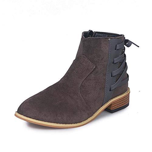 Schoenen-YRQ dames laarzen dikke hak ronde teen gesp suède laarzen enkel laarzen lente & herfst Chelsea laarzen 43 B