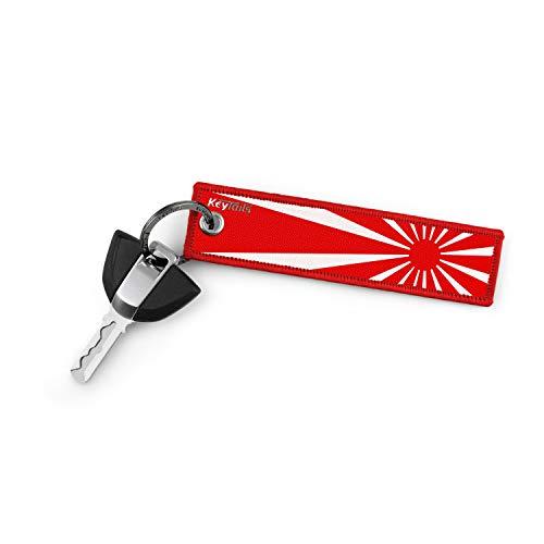 KeyTails Premium-Qualität Motorrad Schlüsselanhänger Schlüsselring Kratzfest Ideal für Ihr JDM Motorrad, Auto [Rising Sun]
