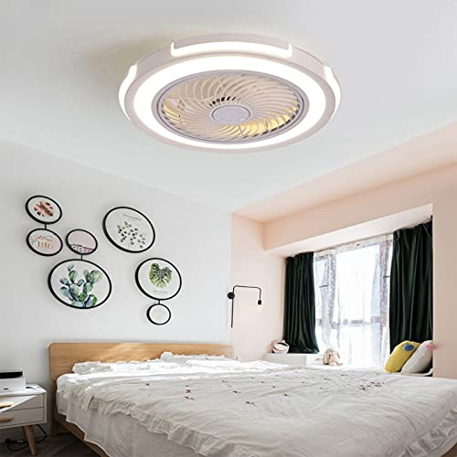 HHGM Ventilador de Techo LED de con iluminación Moderna LED Ventilador de Techo Luz del Ventilador Invisible Plafon con Iluminación Ventilador Techo con Luz y Mando a Distancia Iluminacion Led