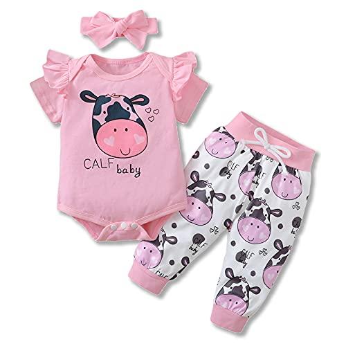 Newborn Baby Girl Cow Letter Print Ruffle Romper Cartoon Pants Headband Outfits (Pink, 0-6 Months)