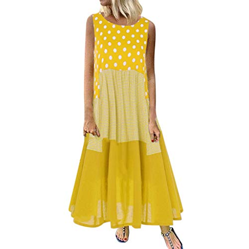 Carolui Plus Size Ärmellos Wave Point Check Print Patchwork Langes Kleid Frauen Vintage Lose Baumwolle Maxi Kleider(Gelb,L)