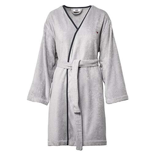 Tommy Hilfiger badjas met capuchon Outline Font I kleur Grey Grey