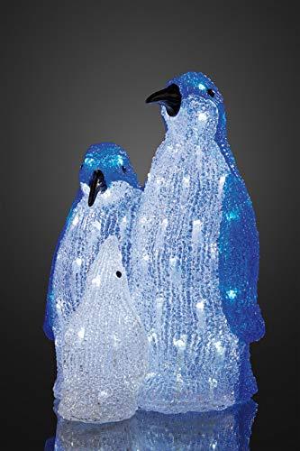 Hellum 576993 LED-Acryl Pinguin-Familie, blau-weiß, Dekoration, ganzjährig, Kinderzimmer, outdoor, 10m Kabel 27 x 25x 36 cm
