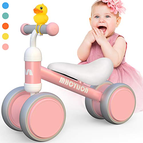 Baby Balance Bikes Toys for 1 Year Old Boys Girls 10-24 Months Cute Toddler First Bicycle Infant Walker Children No Pedal 4 Wheels 1st Birthday Gifts (New Pink)