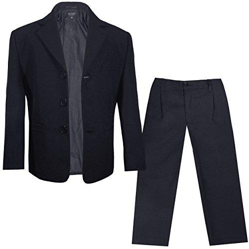 Paul Malone - Kinder Anzug für Jungen festlich Sakko + Hose (tailliert) schwarz/Kommunionanzug Taufanzug Konfirmationsanzug 7