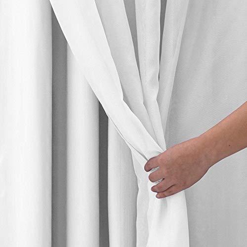 Cortina para Quarto Branca Blackout Corta Luz PVC com Voil 2,80 x 1,60 para Varão Simples 2,00 Metro