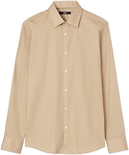 T-Shirts Camicia Slim Fit in Cotone Uomo, Marrone (Caramel 513), 41 cm, Label: L