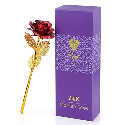 Diealles Shine Oro Rosa 24 Carati, 24KRosa Fiore Artificiale Rosa Eterna Placcata, Regali per San Valentino, Compleanno, Festa della Mamma, Anniversario, Matrimonio,Rosso