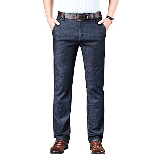 Pantalones Vaqueros de Verano para Hombre Pantalones Vaqueros Casuales de Pierna Recta Sueltos Sueltos de Verano Pantalones de Mezclilla Ajustados elásticos de Negocios Ropa Formal 36