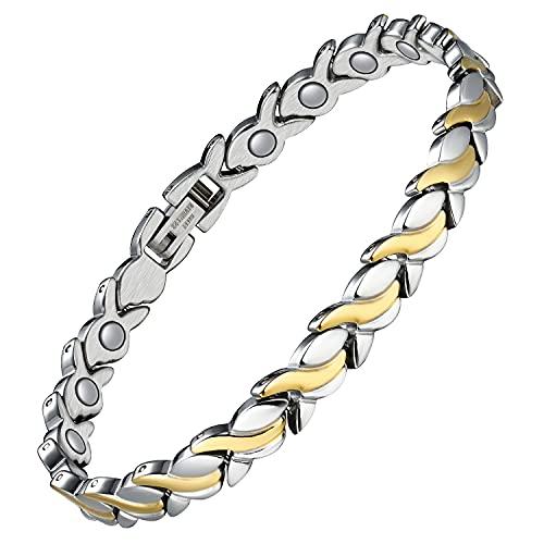 Jecanori Titanium Steel Magnetic Bracelet for Women~Magnet Therapy Bracelet for Arthritis Pain Relief&Carpal Tunnel~Unique Fishtail Link Adjustable Bracelet with 3500 Gauss Magnet(Silver and Gold)