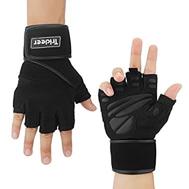 """Trideer Padded Anti-Slip Weight Lifting Gloves with 18"""" Wrist Wraps, Pro Gym Gloves Support for Weightlifting, Cross Training, Gym Workout (Black, XL (Fits 8.6-9.25 Inches))"""