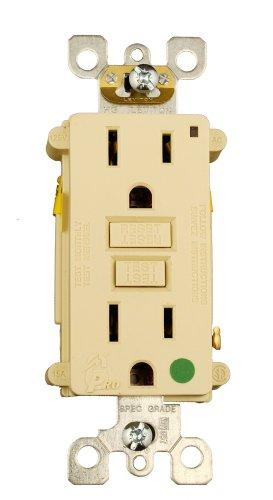 Leviton 7599-HFI 15-Amp, 125-Volt, SmartLockPRO Duplex Receptacle, Straight Blade, Hospital Grade, GFCI, Ivory