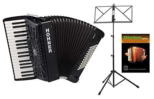 Hohner Bravo III 72 SilentKey Akkordeon Starter Set (schönes Akkordeon mit 34 Piano-Tasten, 4 chörig, 72 Bässe inkl. Trageriemen, Gigbag, Notenständer & Akkordeon-Schule) Schwarz