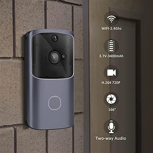 mrjg Smart Doorbell Cámara WiFi Call Wireless Call Intercom Video-Eye for Apartments Door Bell Anillo para teléfonos Cámaras de Seguridad para el hogar (Color : Silver)