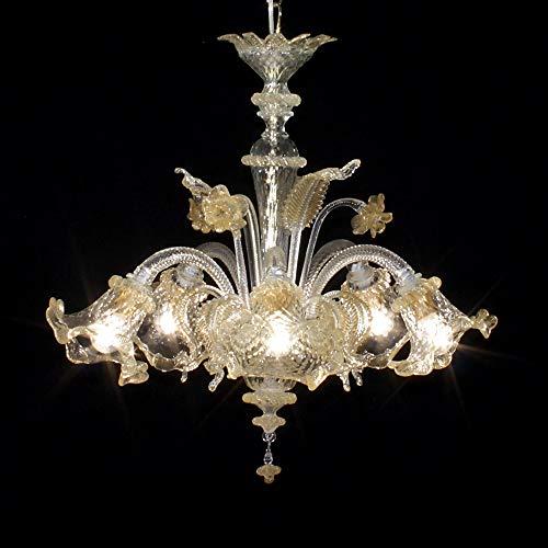 Lampadario Murano CANNAREGIO 5 luci - Realizzato in vetro cristallo trasparente con lavorazione a rigadin ritorto e baloton, decorazioni in oro 24k, parti metalliche dorate