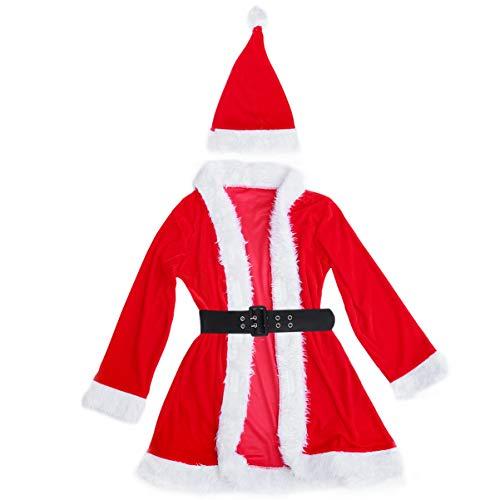 Amosfun 1 Set di vestito sexy di Natale elegante vestito di Babbo Natale per donne e ragazze
