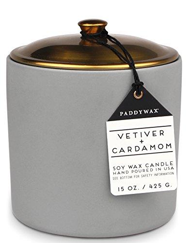 Paddywax Hygge collectie sojawas geurkaars in grijs, met keramische houder en koperen deksel, 426 g, Vetivergras & Kardemom