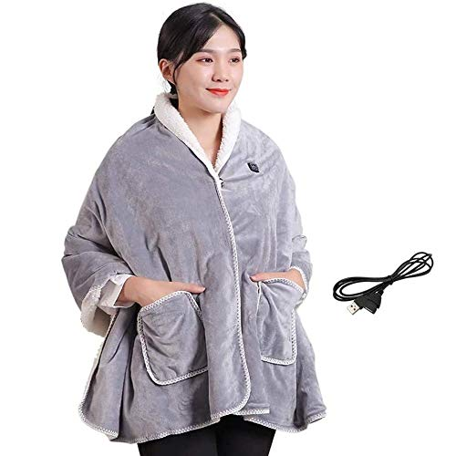 Wireless USB Electric Blanket, Cordless Heated Shawl Washable Warm Knee Pads, Portable Heated Blanket Throw for Travel Office Home Outdoor and Vehicle (Color : B)