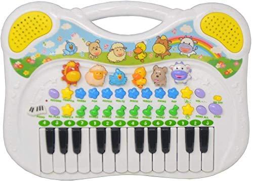 DRULINE Tier Keyboard Tierstimmen Piano Kinder Multifunktions Digitalpiano 24 Schlüssel Instrument Einstellbare Klangfarbe und Klavierrhythmus Musik Lernspielzeug Geschenk Klavier 37 x 27 cm