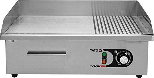 YATO Profi Gastro elektrische Grillplatte | 55x35 cm | glatt/geriffelt | 3000 Watt | Griddle Platte Bräter Grill Indutrie Imbiss