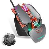 CNYMANY Gaming Maus [Abnehmbare Gewichte] [Programmierbar] [RGB-Beleuchtung] [7 Programmierbare Tasten] [Anpassbare Spielprofile] [3200 DPI] Wired Gaming Maus für PC/Mac(Grau)