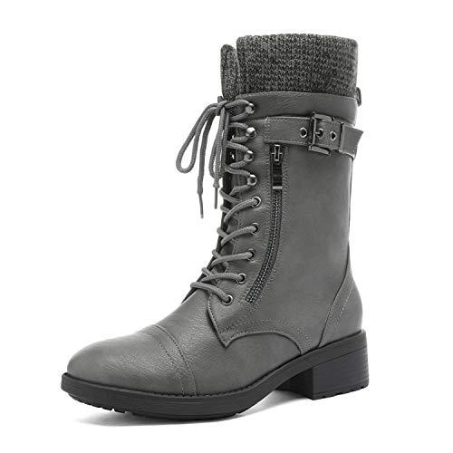 DREAM PAIRS Women's Amazon Grey Mid Calf Combat Riding Boots Size 10 M US