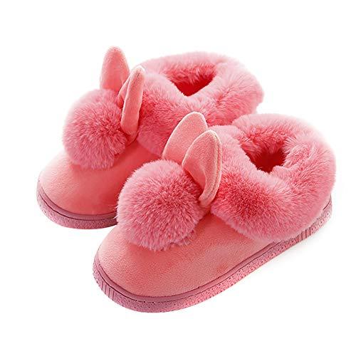 MSYOU Hausschuhe in Hasenform, bequem, rutschfest, für Herbst/Winter, Hausschuhe für Damen und Mädchen, Größe 10 (Rosa) 40-41 rose