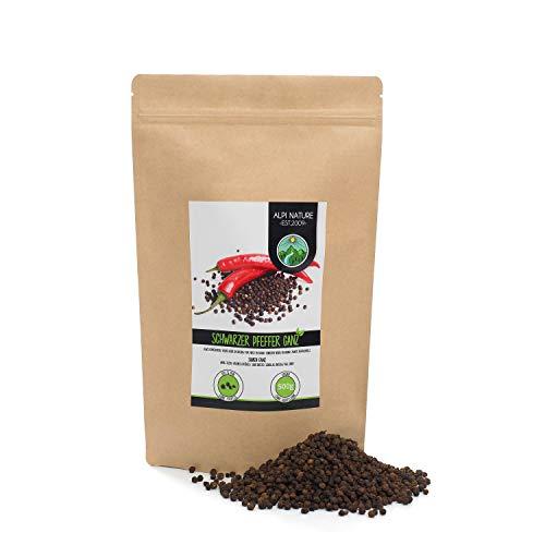 Pepe nero intero (500g), pepe nero in grani 100% naturalmente puro, senza additivi, vegano, pepe nero