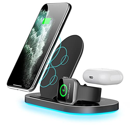 Nomi Cargador Inalámbrico 3 En 1, Cargador Inalámbrico con Luz Nocturna Ajustable, Compatible con Apple Watch SE / 6/5/4/3/2/1, Compatible con iPhone 12/12 Pro / 12 Pro MAX/SE